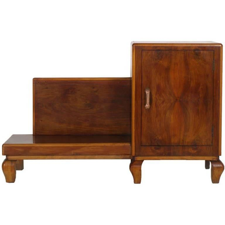 art deco entrance cabinet console in walnut restored and. Black Bedroom Furniture Sets. Home Design Ideas