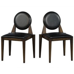 Pair of Carrocel Custom Aridis Art Deco Dining Accent Chairs