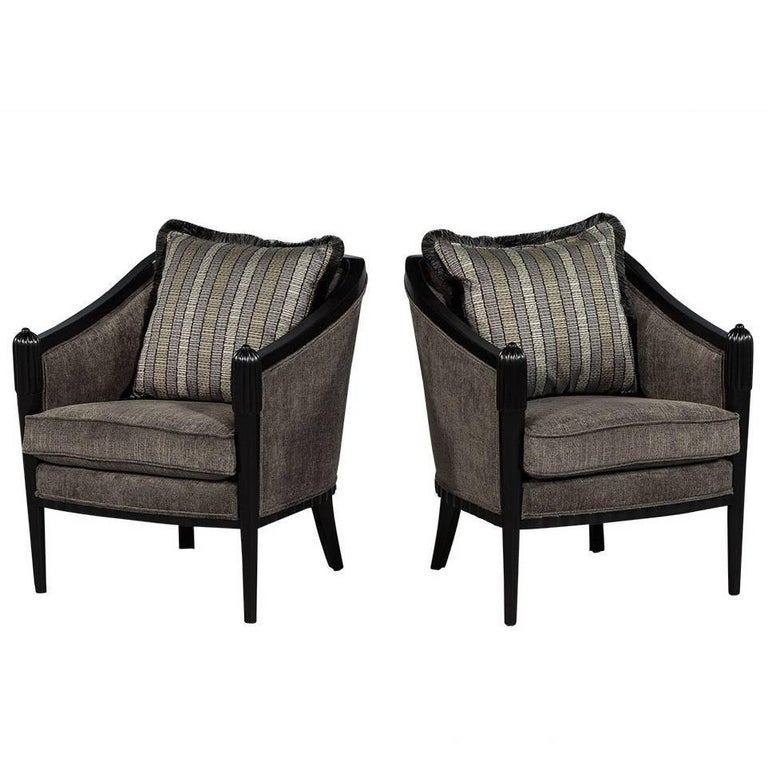 Pair of Art Deco Lounge Chairs by Baker For Sale