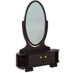 Vintage Olive Burl Vanity Cabinet with Mirror