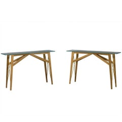 Pair of Vintage Oak Modern Glass Top Console Tables