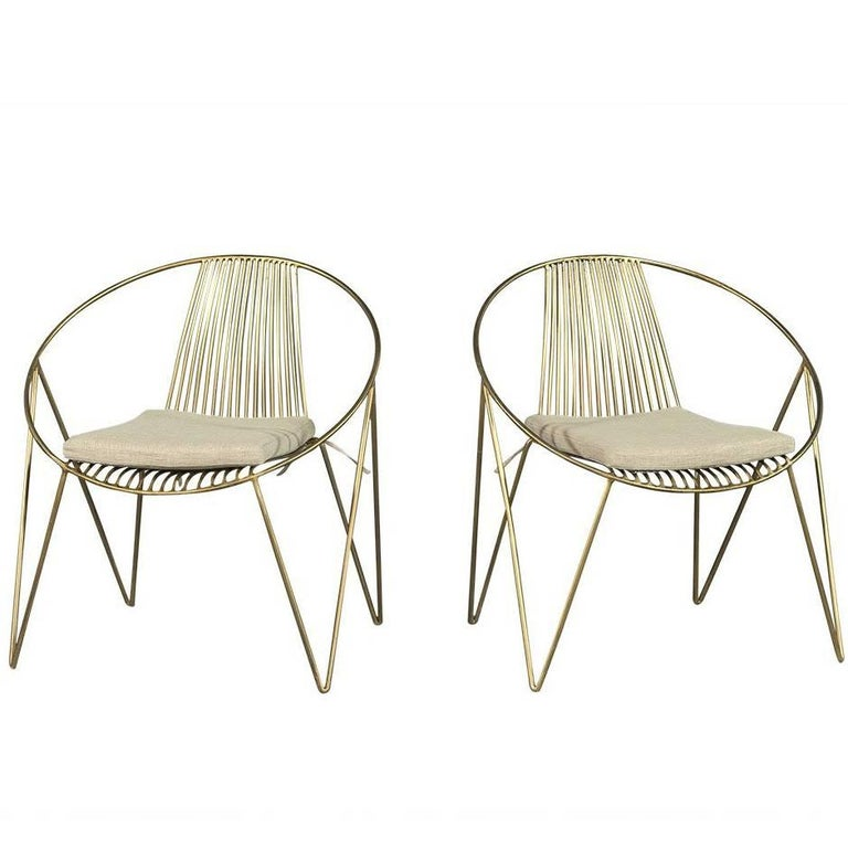 Pair of Modern Saucer Chairs with Brass Frames