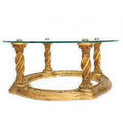 Hollywood regency 1960s Carved Giltwood Coffee Table