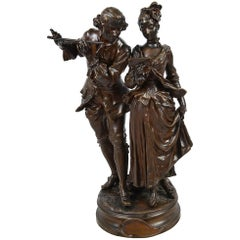 Bronze Statue of Two Musicians by 'A. Gaudez'