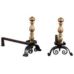 19th Century Continental Brass/Iron Andirons