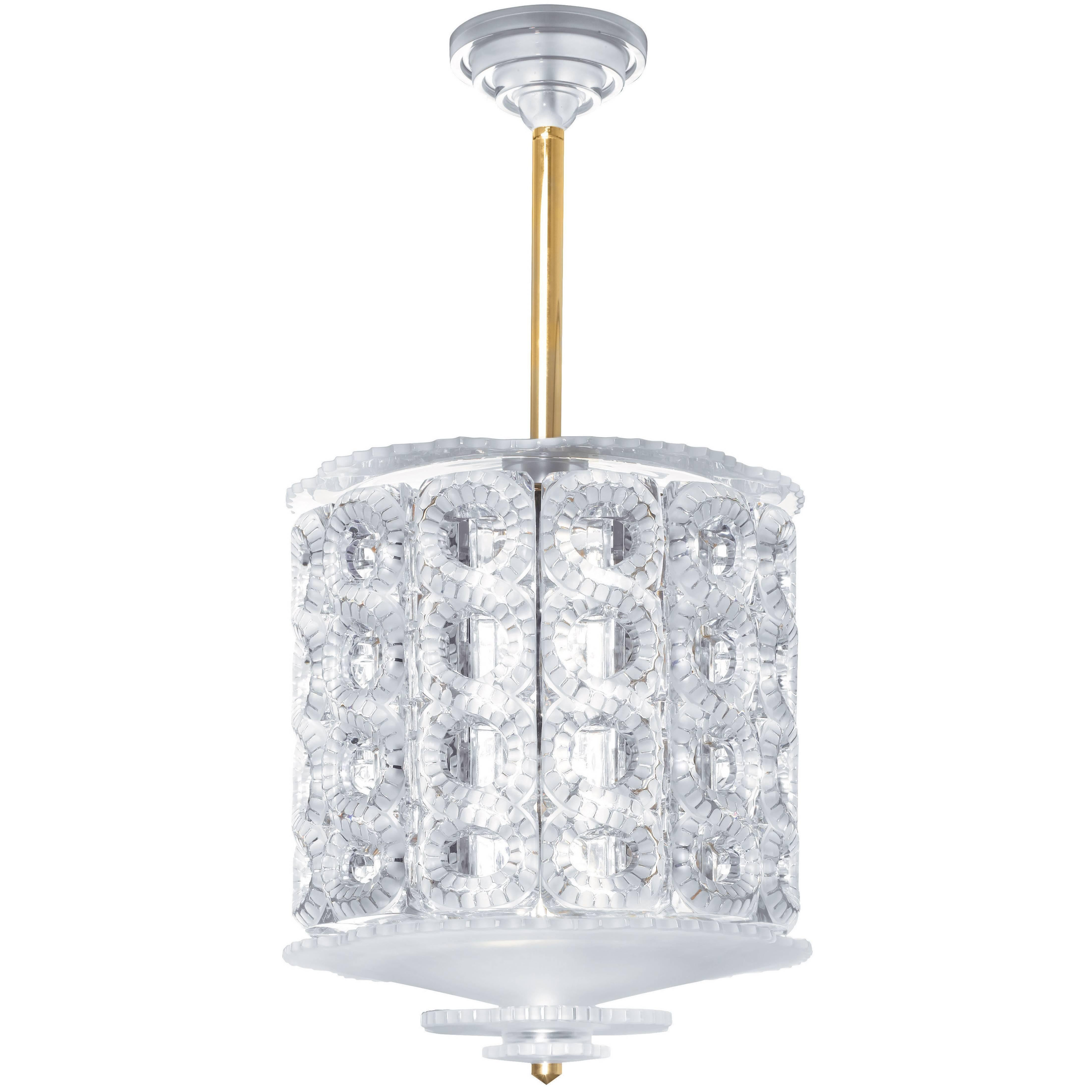 Lalique Seville Clear Crystal and Gilded Metal Small Chandelier