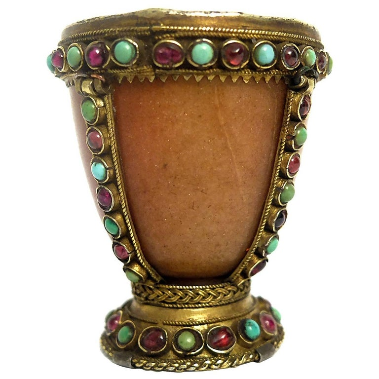 Rare 18th Century Russian Agate Cup with Garnets and Turquoises
