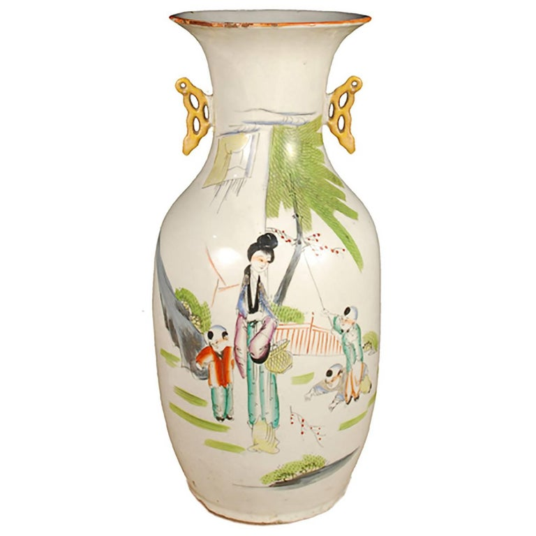 Chinese Painted Phoenix Tail Vase For Sale