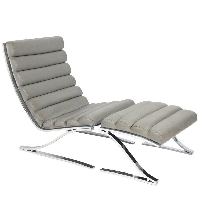 Mid-Century Cantilevered Chrome Lounge Chair and Ottoman by DIA