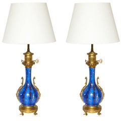 Pair of Louis Philippe Style Flambe-Glazed Vases Fitted as Oil Lamps