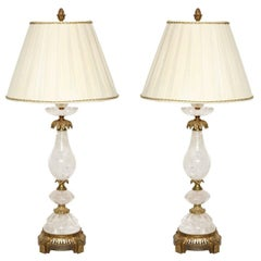 Pair of Brass-Mounted Rock Crystal Table Lamps