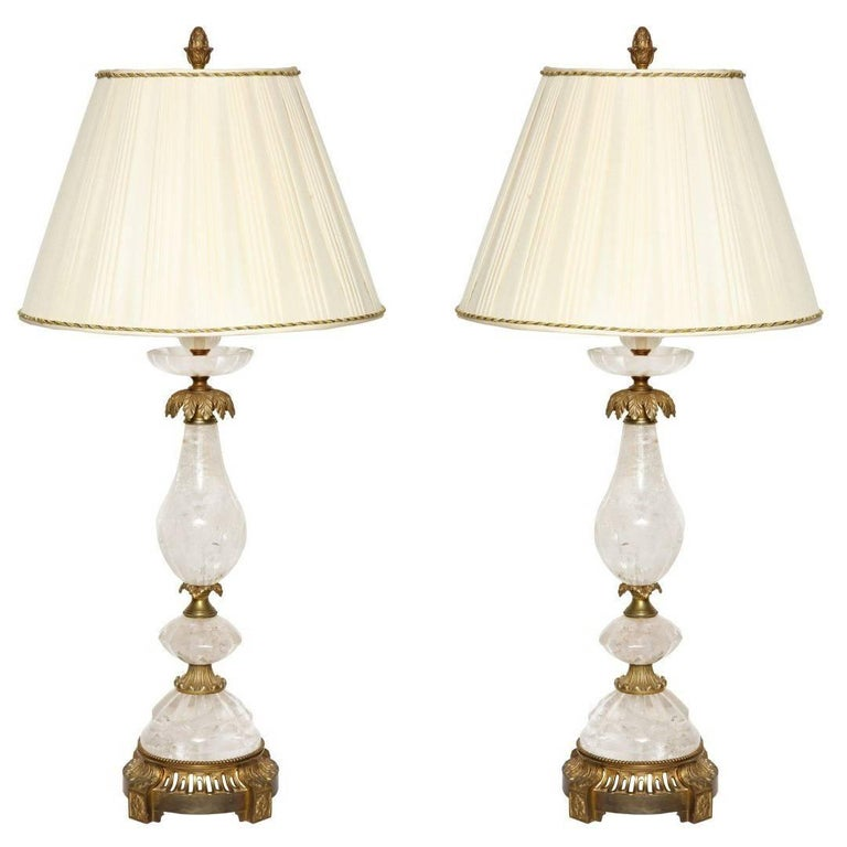 Pair of Brass-Mounted Rock Crystal Table Lamps For Sale