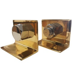 Striking 1970s Pop Brass and Chrome Nut & Bolt Bookends, Newly Replated