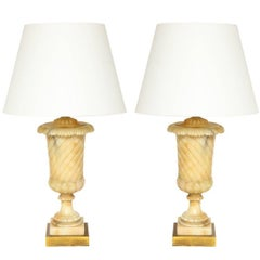 Pair of Italian Alabaster Urns Fitted as Lamps