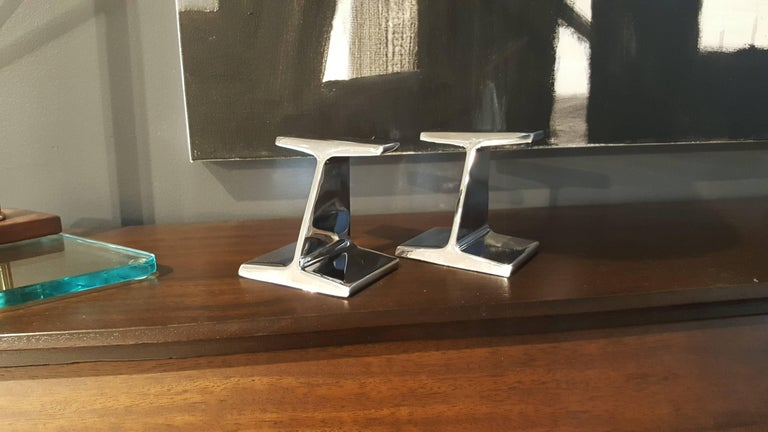 American Stunning Chrome-Plated Steel Railroad Tie Bookends, 1970s For Sale