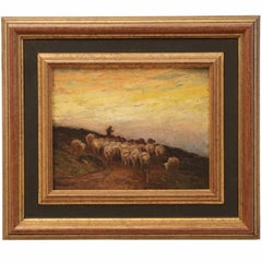 "Francis Wheaton ""Sheep at Evening"" Painting in Oil"