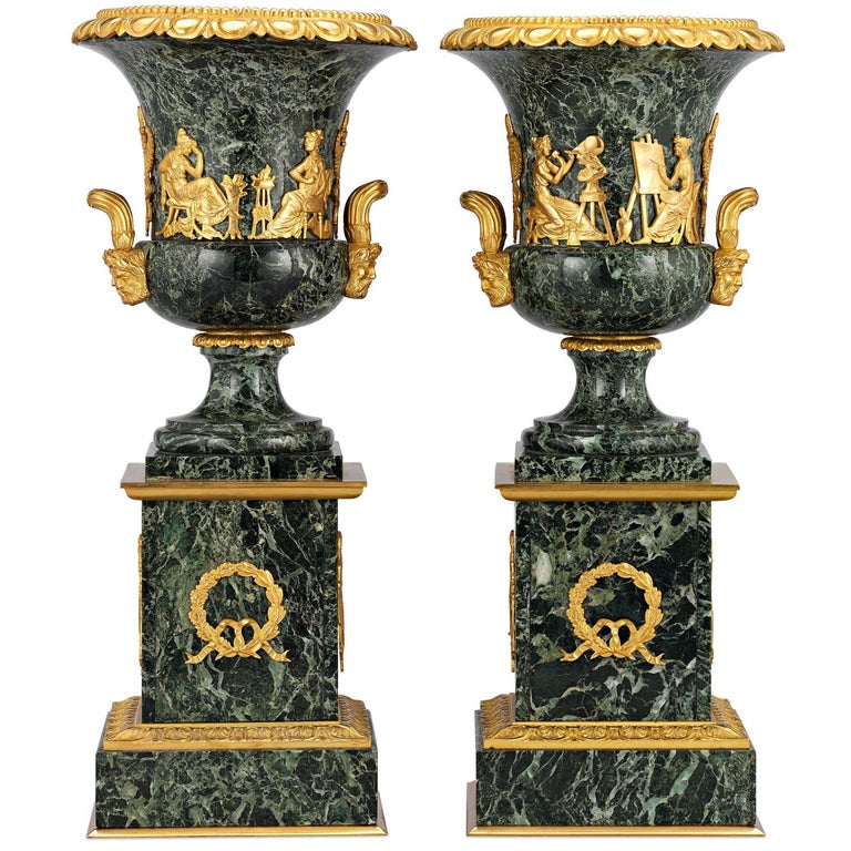 French Empire Style Marble Urns