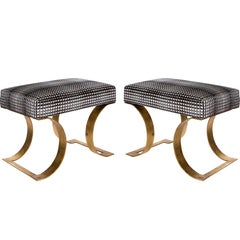 Pair of Gilt Metal Benches in the Manner of Karl Springer