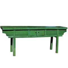 Green Rustic Antique Farm Table, Single Board, Sliding Doors