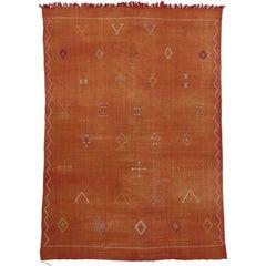 Sabra Cactus Silk Vintage Moroccan Kilim Rug with Boho Chic Style