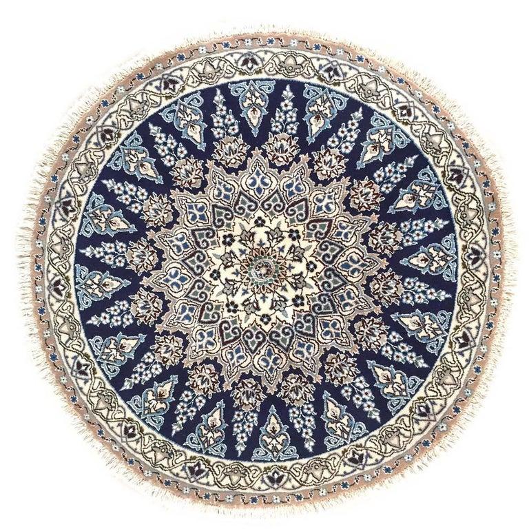 Persian Nain Handmade Floral Traditional Medallion Round