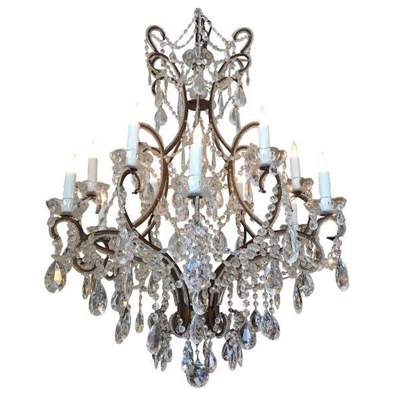 Antique Twelve-Light French Chandelier