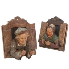 Pair of 19th Century Austrian Polychromed Terracotta Relief Busts
