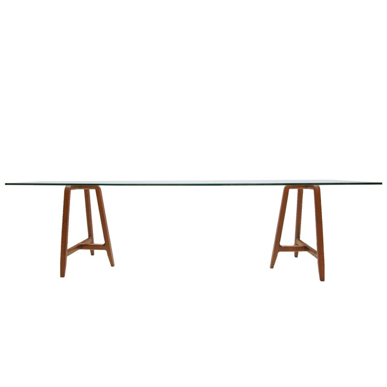 """""""Easel"""" Tempered Glass Top and Walnut Base Table by L. and R. Palomba for Driade"""