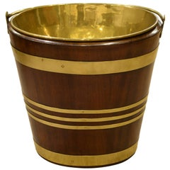 Oval Brass Bound Mahogany Peat Bucket