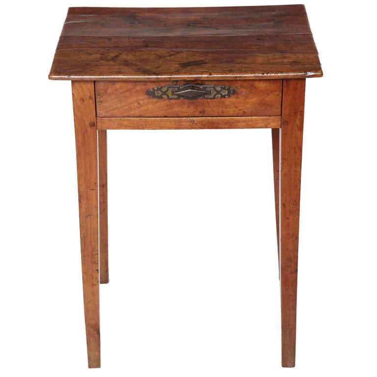 18th Century French Walnut Side Table with Single Drawer and Iron Hardware