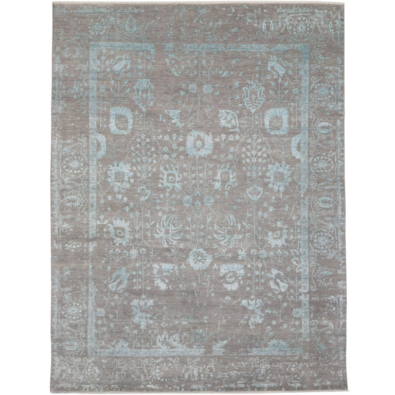 Contemporary Gray Oushak Rug With Erased Design And Modern