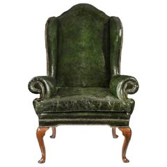 George I Walnut Wing Armchair of Generous Proportions