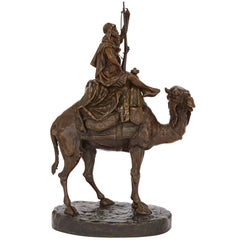 Large Orientalist Style Patinated Bronze Sculpture by Emile Pinedo