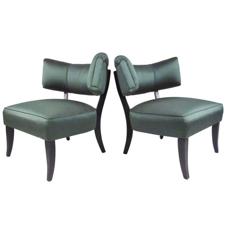 Stylish Pair of Vintage Art Deco Slipper Chairs