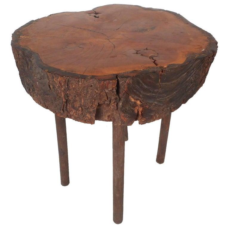 Mid-Century Modern Tree Slab End Table For Sale