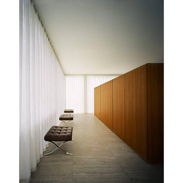 Mies van der Rohe Farnsworth House Barcelona Stools Photo by Francois Dischinger