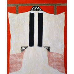 Painting of White Kimono with Cheese Cloth by Jane Evans