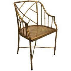 Burnished Gilt Chinoiserie Metal Bamboo Armchair