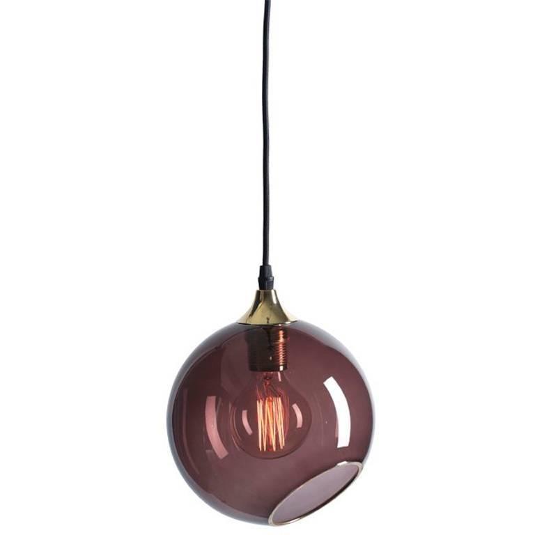 Ballroom Purple Pendant with Brass Edge Gold Socket Ceiling Lamp