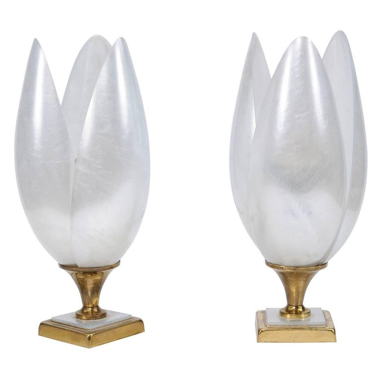Pair of 1970s Maison Rougier Three-Petal Flowers Table Lamps of White Color