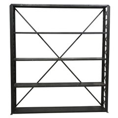 Large and Narrow Industrial Blackened Iron and Steel Bookcase or Etagere