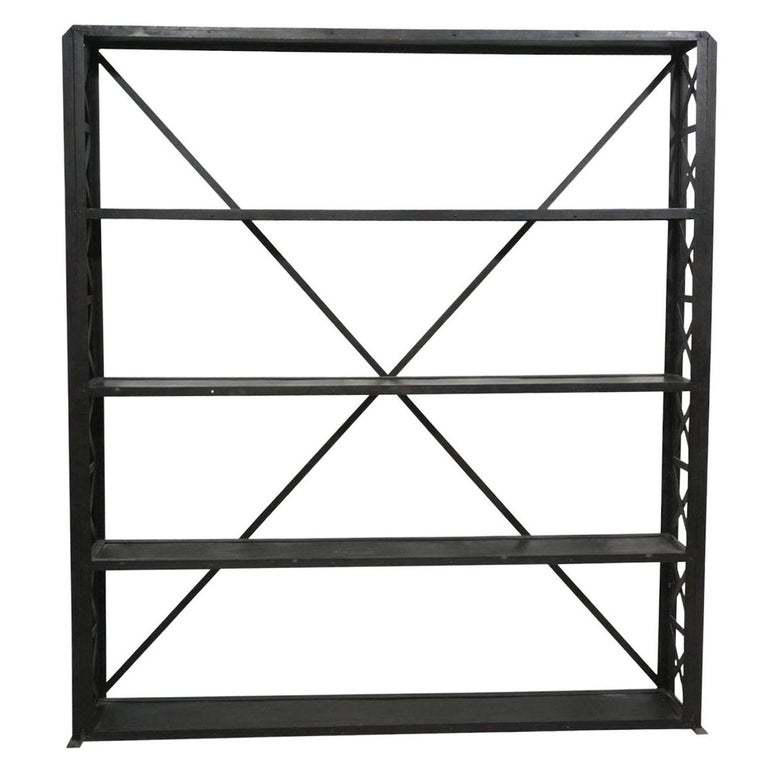 Large and Narrow Industrial Blackened Iron and Steel Bookcase or Etagere For Sale