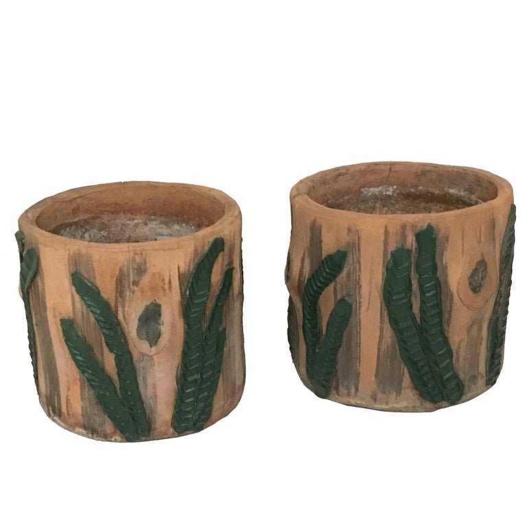 Pair of Handcrafted Faux Bois Concrete Planters, 1960s