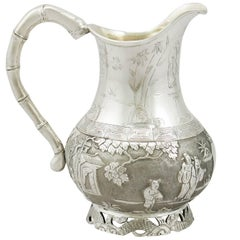 1900s Antique Chinese Export Silver Cream Jug by Wang Hing