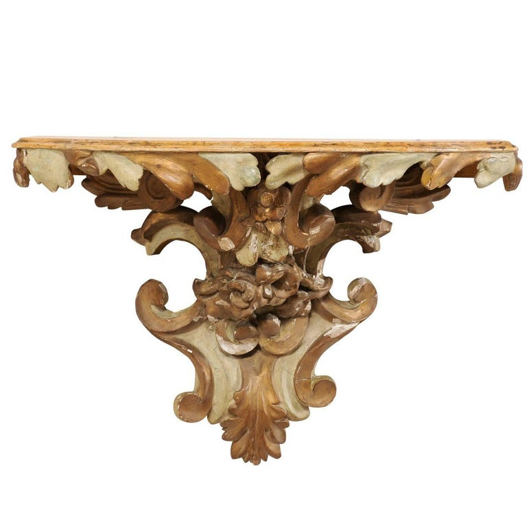Italian Early 19th Century Painted Wood Architectural Wall Shelf