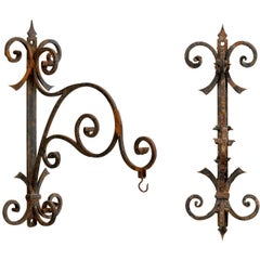 Pair of Italian, 19th Century Iron Scroll-Shaped Hangers with Great Patina