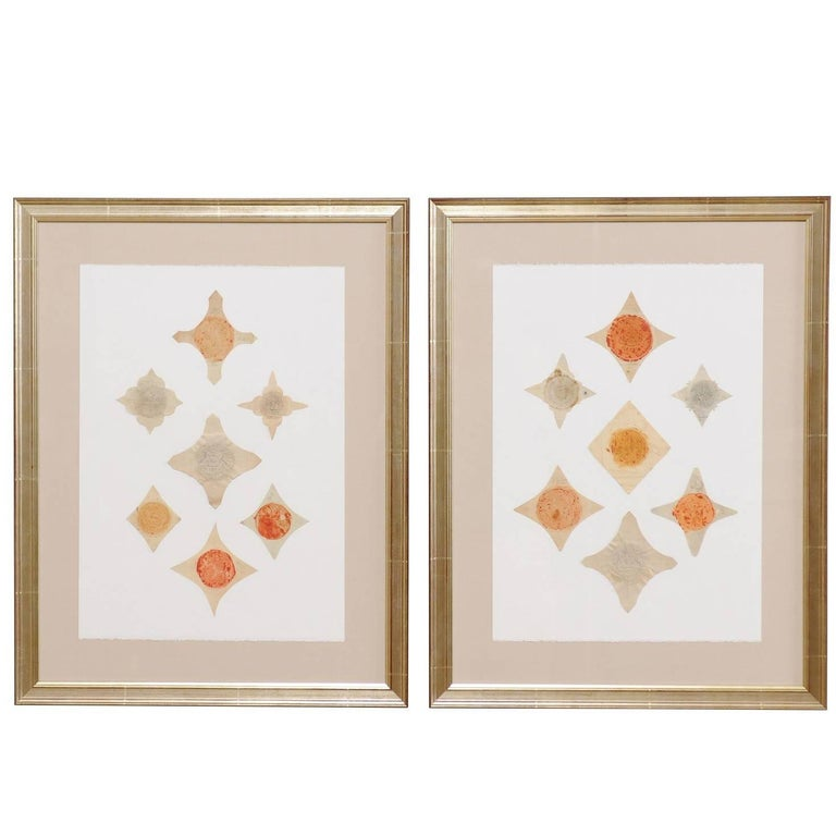 Pair of Framed Original 18th Century Swedish Seals Cut and Placed Artfully For Sale