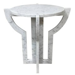 White Carrara Marble Cocktail Table, Italy, Contemporary