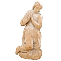 18th Century Carved Wood Female Figure Kneeling in Prayer