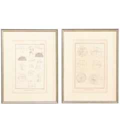 Pair of 18th Century French Framed Bernard Direx Astronomy / Geometric Rendering